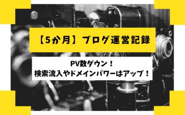 【5か月】ブログ運営記録【PV数ダウン!検索流入やドメインパワーはアップ!】